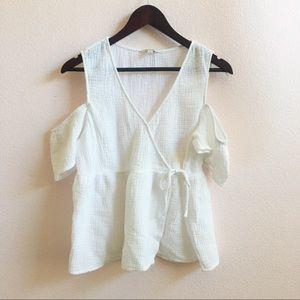 Lucky Brand cold shoulder mock wrap blouse
